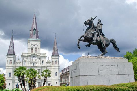 This statue of Andrew Jackson stands in Jackson Square at the heart of the French Quarter.