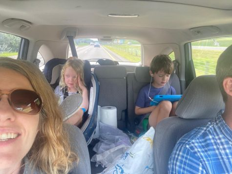Elizabeth Rainey, director of the student success center, rides in the car with her husband, children, and dog to Birmingham. Rainey is one of many members of the Loyola community to leave town for Hurricane Ida.