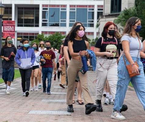 Freshmen students walk through campus during WolfPack Welcome on Aug. 18th, 2021.