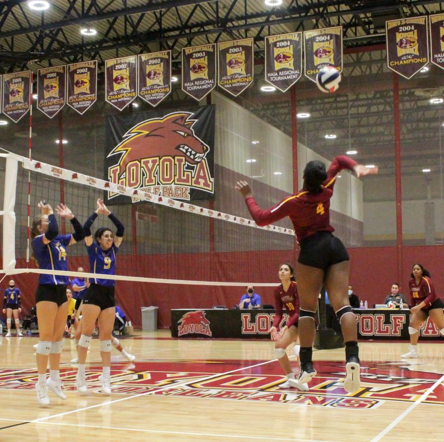 Sophomore recruit Simone Tyson preps for a spike at the Wolf Pack Invitational on Friday, August 27.