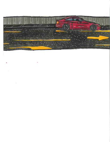 A drawing of Bergeons car is seen racing down the road after the student was carjacked