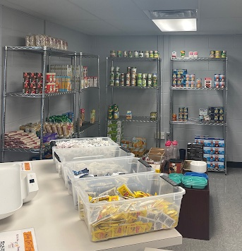 Iggy's Cupboard holds nonperishable frozen, boxed, and canned goods in the Danna Center in New Orleans, La., Tuesday, Sept. 28, 2021. Students can fill up to one bag with food from the pantry.