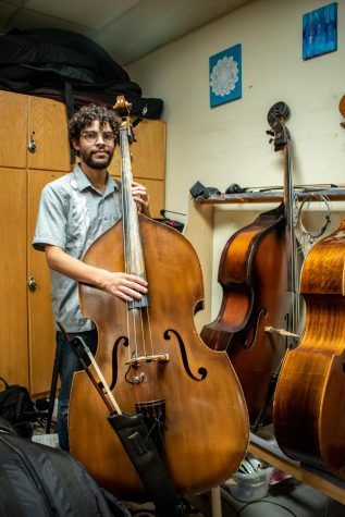 Jose Hernandez with his upright bass. He is a jazz musician with an ear for experimental music.